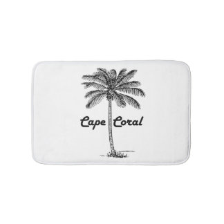 Design preto e branco do coral & da palma do cabo tapete de banheiro