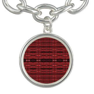 Design preto vermelho do abstrato do fio bracelete