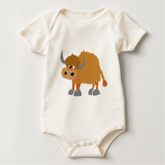 Design primitivo da arte dos iaques engraçados body para bebê
