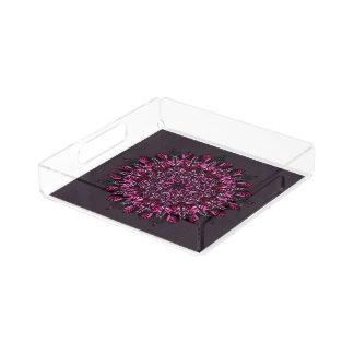 Design quadrado da mandala do rosa da bandeja