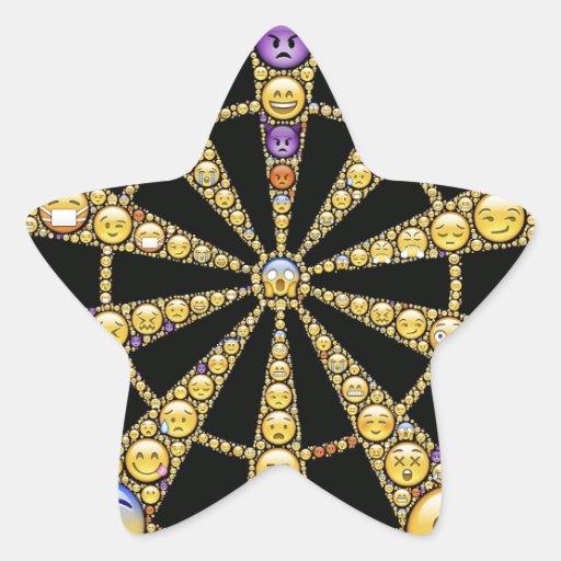 Design redondo das emoções diferentes adesivo em forma de estrela