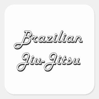 Design retro clássico de Jiu-Jitsu do brasileiro Adesivo Quadrado
