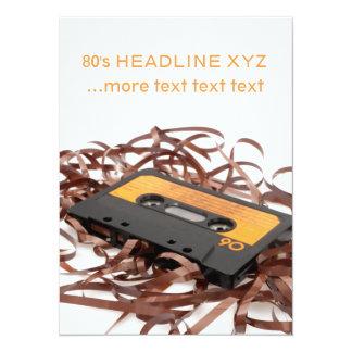 Design retro do anos 80 - fita da cassete áudio convite 13.97 x 19.05cm