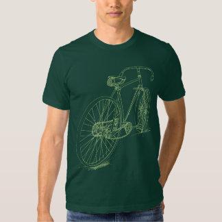 Design retro do desenho da bicicleta no verde t-shirt