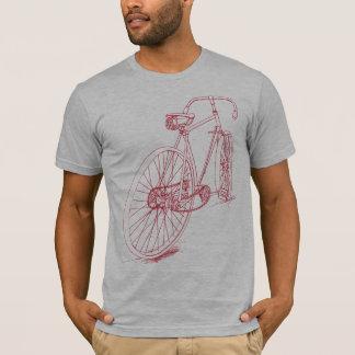 Design retro do desenho da bicicleta no vermelho camiseta