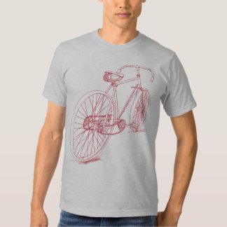 Design retro do desenho da bicicleta no vermelho camisetas