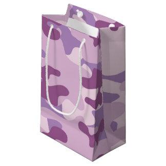 Design roxo de Camo Sacola Para Presentes Pequena