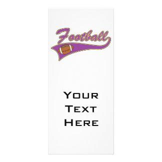 design roxo e amarelo do logotipo do futebol modelo de panfleto informativo