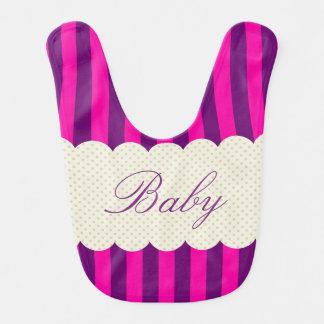 Design roxo personalizado das bolinhas das listras babador infantil