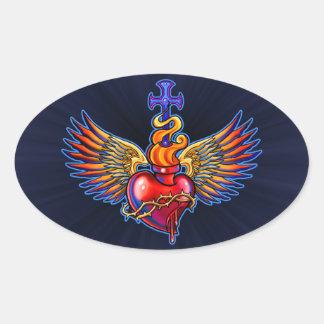 Design sagrado voado do coração adesivo oval