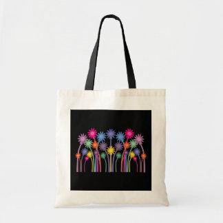 Design simétrico corajoso das flores dos desenhos bolsas para compras