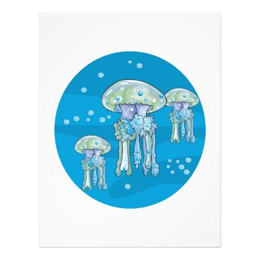 design subaquático do círculo de três medusa panfletos personalizado
