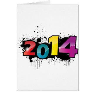 Design subterrâneo do ano novo. 2014 cartoes