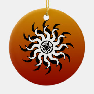 Design Sun tribal do sudoeste Ornamento De Cerâmica Redondo