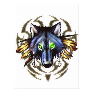 Design tribal do tatuagem do lobo cartão postal