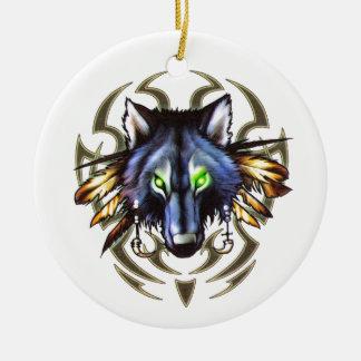 Design tribal do tatuagem do lobo ornamento de cerâmica
