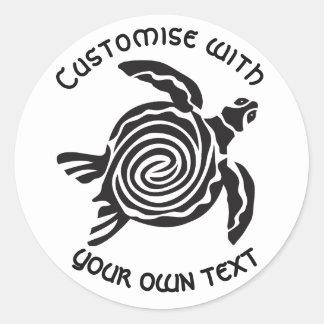 Design tribal feito sob encomenda da tartaruga adesivo redondo