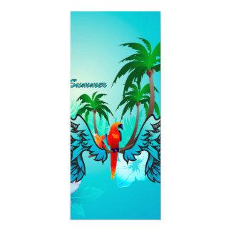 Design tropical com papagaio e flores convite 10.16 x 23.49cm