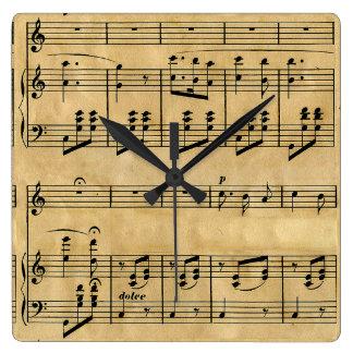 Design velho do papel de pergaminho da contagem mu relógio de parede