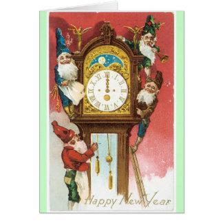 Design velho do vintage do cartão do ano novo da