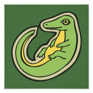 Design verde e amarelo bonito do desenho do jacaré impressão de foto