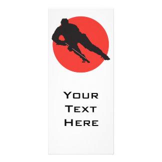 design vermelho do círculo da silhueta do hóquei e panfletos informativos