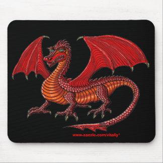Design vermelho do mousepad do dragão