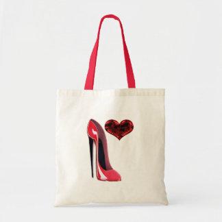 Design vermelho dos calçados e do coração 3D do es Bolsas