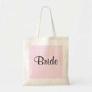 Design Wedding na verificação rosa pálido e no tex Bolsa De Lona