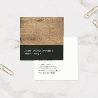Designer de interiores preto de madeira elegante cartão de visitas quadrado