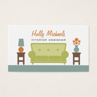 Designer de interiores - sofá verde da sala de cartão de visitas