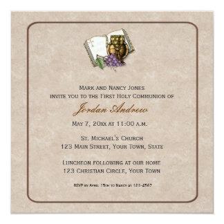 Desnate primeiros símbolos do comunhão convite