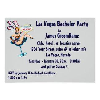 Despedida de solteiro da tira de Las Vegas Convite 12.7 X 17.78cm