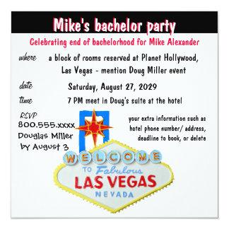 Despedida de solteiro de Las Vegas do divertimento Convite Quadrado 13.35 X 13.35cm
