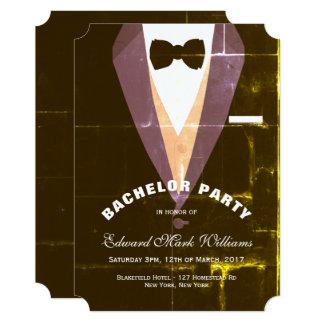 Despedida de solteiro do smoking do vintage convite 12.7 x 17.78cm