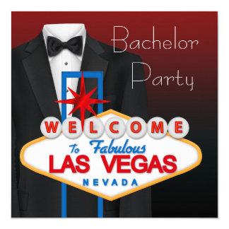 Despedida de solteiro preto de Las Vegas do Convite Quadrado 13.35 X 13.35cm