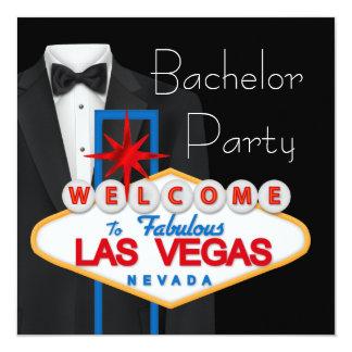 Despedida de solteiro preto vermelho de Las Vegas Convite Quadrado 13.35 X 13.35cm