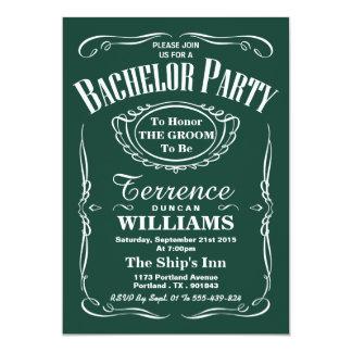 Despedida de solteiro verde na moda da tipografia convite 12.7 x 17.78cm