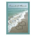 Destino da praia que Wedding 5x7, corações da arei Convite Personalizado