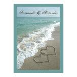Destino da praia que Wedding 5x7, corações da Convite Personalizado