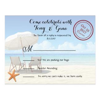 Destino de Cancun que Wedding o cartão de RSVP