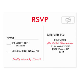 Destino de Las Vegas que Wedding RSVP Cartão Postal