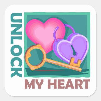 Destrave meu coração: Ame a chave para o dia dos n Adesivo Em Forma Quadrada