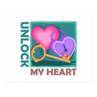 Destrave meu coração: Ame a chave para o dia dos n Cartoes Postais