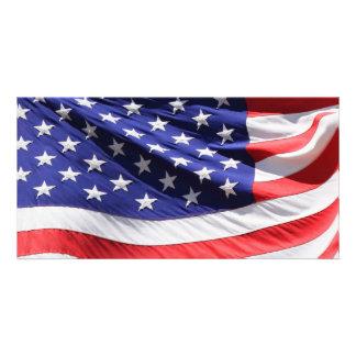 Detalhe de bandeira americana cartao com foto