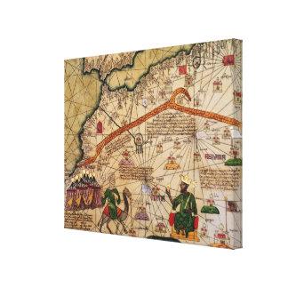 Detalhe de cópia de um mapa Catalan de Europa Impressão De Canvas Envolvidas