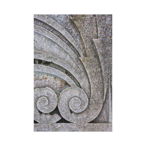 Detalhe de pedra da escultura do alivio de Deco da Impressão De Canvas Envolvidas