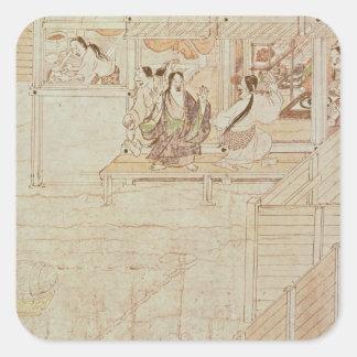 Detalhe de Shigisan Engi Emaki, período de Adesivo Quadrado