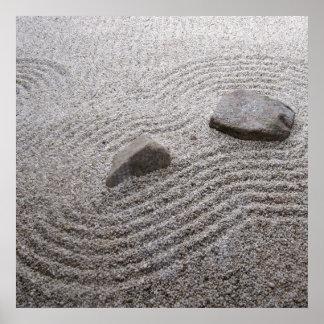 Detalhe do jardim do zen pôster