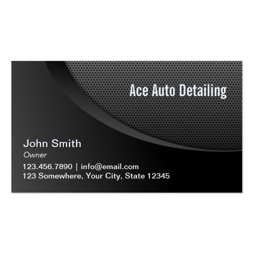 Detalhe móvel do metal preto moderno auto cartões de visitas